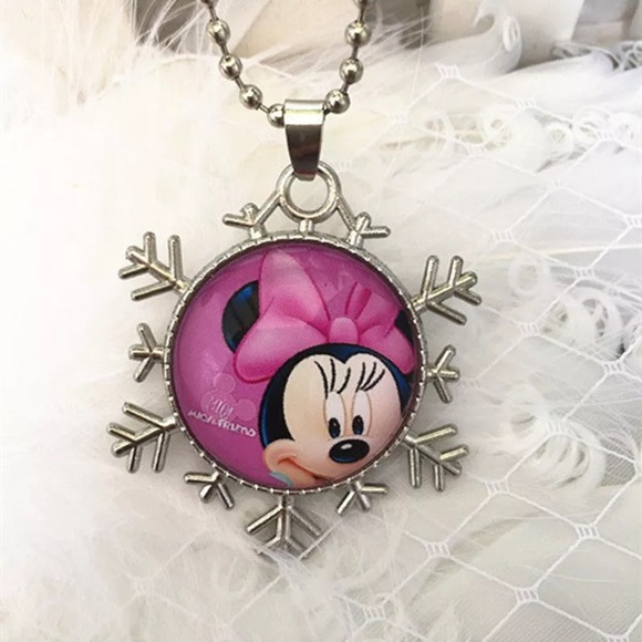 1d093a302bf91 Minnie Mouse Glass & Snowflake Necklace Boutique
